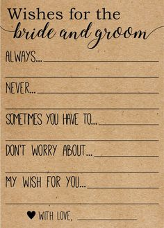 Wishes for the Bride and Groom . Advice for the Bride and Groom Cards . Wishes for the Bride and Gro a wish for the bride and groom, Add a suggested date night activity to it? Source by kandah. Bridal Shower Planning, Bridal Shower Party, Bridal Showers, Wedding Planning, Bridal Shower Rustic, Bridal Shower Advice, Best Bridal Shower Games, Bridal Shower Wishes, Event Planning