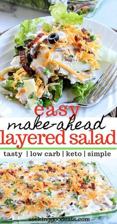Layered Salad (Layered Overnight Salad with Mayonnaise A simple make-ahead recipe, this low carb layered salad is perfect for a weeknight dinner or a party. It's keto friendly and you can customize this salad recipe by substituting your Low Carb Recipes, Diet Recipes, Cooking Recipes, Healthy Recipes, Diabetic Recipes For Dinner, Salad Recipes For Dinner, Low Carb Summer Recipes, Diabetic Salads, Baked Chicken