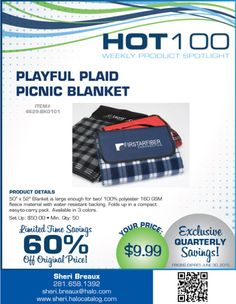 Promotionally Yours: Playful Plaid Picnic Blanket on sale