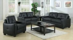 Coaster Jasmine-LivSet-Bk Jasmine Living Room Set - Black by Coaster Home Furnishings. $793.00. Jasmine Living Room Set - Black by Coaster Jasmine-LivSet-Bk. Smart styling wrapped in super-soft bonded leather match. The shapely Jasmine sofa enhances any space with big, plush cushions, and slightly flared design that welcomes you with open arms. Hardwood solid frame Poly fill back pillow and webbed base Simple KD construction Please refer to the Specifications to determi...