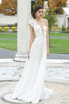 Spring 2013 Trend: Greek Chic (Tadashi Shoji's silk chiffon dress worn with Badgley Mischka earrings and cuff.)