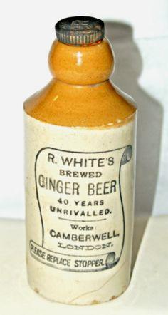 ginger salt glazed pottery white london ginger beer beer bottles ...