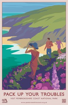 """""""Pack Up Your Troubles"""" Modern Pembrokeshire Coast National Park Railway Travel Poster (AddoCreative)"""