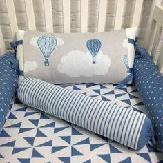 Kit berço 5 peças em tricot balões (tons de azul e cinza) - PiLuLiTo