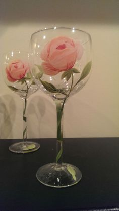Hand Painted Floral Stemmed Wine Glasses Goblet