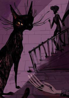 The Black cat - Edgar Allan Poe Mystery & Fear Illustrator Flavia Sorrentino