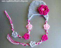 Venta, niña ganchillo gorro con orejeras y flores - gris, rosa y Rosa - recién nacido, del niño, infantiles tamaños disponibles