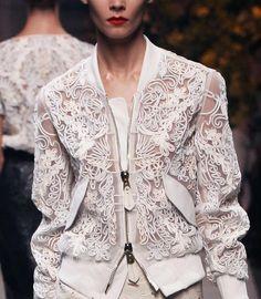 Feminine lacesmeets masculine sporty jacket. Perfect match. furandhighheels:   lost-in-heavens-eyes:   Loewe Spring Summer 2013