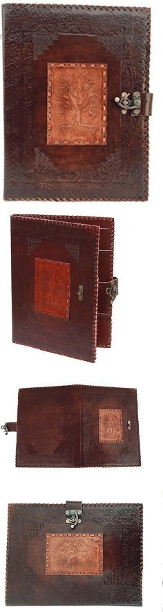 Organizers And Day Planners 15665: Blf Vintage Handmade Embossed Tree Of  Life Leather Portfolio Resume  Leather Resume Portfolio