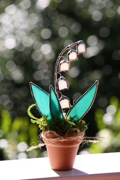 Stained Glass Lily of the Valley Suncatcher Unique by GalaGardens, $11.50