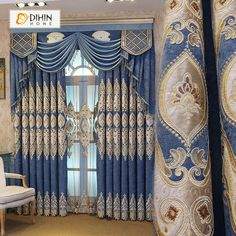 DIHIN HOME Brown Embroidered Blue Valance ,Blackout Curtains Grommet Window Curtain for Living Room Panel - Home decor furniture - Diy Bay Window Curtains, Home Curtains, Grommet Curtains, Blackout Curtains, Panel Curtains, Curtains With Valance, Valances, Luxury Curtains, Windows