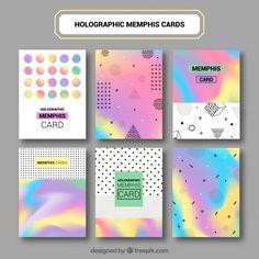 Set of abstract colored infographic cards Free Vector Instagram Feed, Instagram Design, Book Design, Layout Design, Web Design, Hologram Colors, Adobe Illustrator Tutorials, Memphis Design, Design Movements