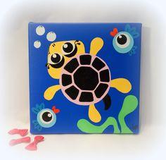 """Décoration pour chambre d'enfant, tableau, peinture - """"Tortue de Mer""""  - 20x20cm"""