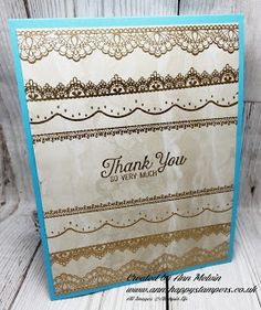 Ann's Happy Stampers: Gold heat embossed card using Delicate Details sta...