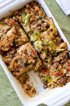 Unstuffed Cabbage Casserole--you can top your casserole with some cheese if you like. The best thing to serve with this Unstuffed Cabbage Casserole is a bowl of plain yogurt or a fresh and crisp salad. Healthy Casserole Recipes, Paleo Recipes, Dinner Recipes, Cooking Recipes, Vegan Casserole, Venison Recipes, Turkey Recipes, Drink Recipes, Clean Eating