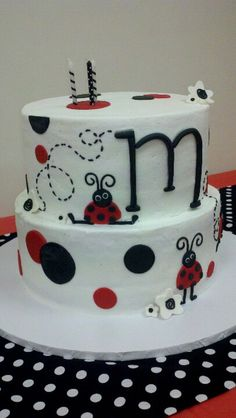 Ladybug birthday cake, could be done as just one layer instead of two