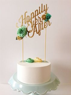 Custom wedding or birthday paper cake topper personalized gold glitter mint green cream flowers happily ever after mid century modern style on Etsy, $42.00