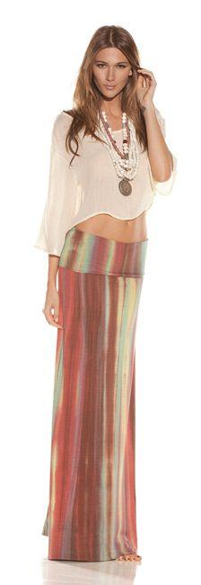 boho tie dye skirt and sheer mid drift top --shop-alexis.com