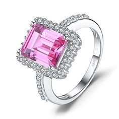 JewelryPalace luxe 4.88ct Alexandrite Rose Saphir de Synthese Cocktail Bague en Argent 925