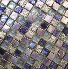 Purple tile fitting for a bathroom or kitchen backsplash -
