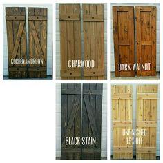 """Wood Shutters, Rustic exterior cedar shutters- """"Board and batten"""" – Exterior Shutters For Sale, Cedar Shutters, Farmhouse Shutters, Diy Shutters, Exterior Shutters, Outdoor Shutters, Black Shutters, Homemade Shutters, Rustic Shutters"""