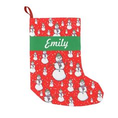 Cute Colorful Personalized Snowman and Snowflakes Small Christmas Stocking. #christmas #holidays #stockings #christmasstockings #snowman #snowflakes #personalized
