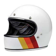 Biltwell Gringo Ltd Editon Tri-Stripe Helmet - White | Full Face Motorcycle Helmets | FREE UK delivery - The Cafe Racer