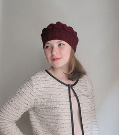 WINTER SALE...Burgundy cable hat ready to shipping. by beyazdukkan, $19.90