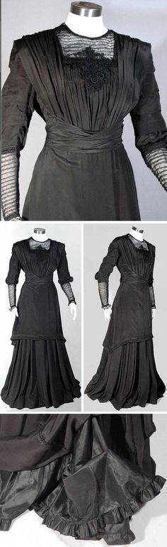 Day dress, circa 1910. Black silk (cross between jersey and crepe), slightly elevated waistline. Tunic-style bodice with black embroidered netlace above bust and on lower sleeves. Wide cummerbund at waist that narrows and hooks in back. Two-layer skirt, with under layer being Princess-cut with two deep flounces under it at bottom of lining. Via Ruby Lane Vintage.