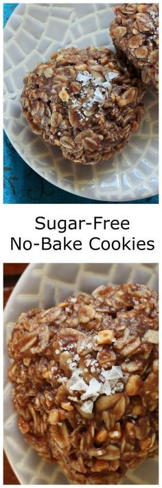 Luscious and chocolate Sugar-Free No-Bake Cookies topped with flaky sea salt is the perfect snack free of refined sugars. Gluten-free, sugar-free, and dairy-free no-bake cookies are so delicious! Gluten Free No Bake Cookies, Gluten Free Snacks, Dairy Free Recipes, Real Food Recipes, Easy Appetizer Recipes, Yummy Appetizers, Yummy Snacks, Delicious Desserts, Dessert Recipes