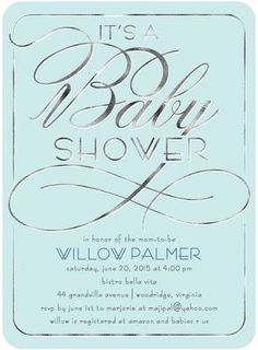 Shining Chic: Lighest Turquoise - Baby Shower Invitations in Lightest Turquoise | Sarah Hawkins Designs