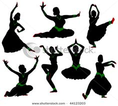Silhouettes of dancers. Traditional Indian dance