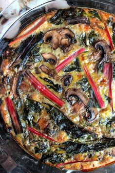 Rainbow Chard and Mushrooms baked into a perfect Rainbow Chard and Mushroom Quiche for breakfast! Feed a crowd or make it for yourself for the whole week!