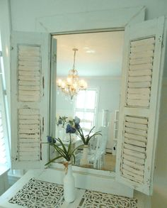 Mirror shutter shabby chic furniture. $235.00, via Etsy.