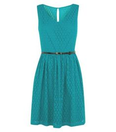 Green Sleeveless Geo Lace Belted Skater Dress