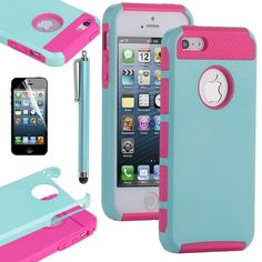 Pandamimi ULAK Aqua Blue & Rose Pink Fashion Sweety Girls TPU + PC 2-Piece Style Soft Hard Case Cover for iPhone 5 5G with Free Screen Protector and Stylus:Amazon:Cell Phones & Accessories