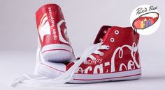Coca-Cola inspired - custom painted fabric shoes