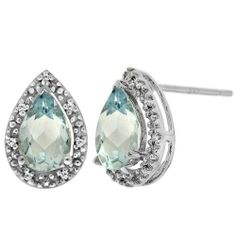 Sterling Silver Aquamarine and Diamond Pear Shape Stud Earrings - Fashion Jewelry