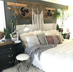 Eclectic neutral bedroom.