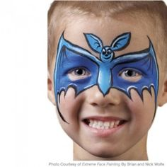 Step-by-step bat face painting instructions from Extreme Face Painting