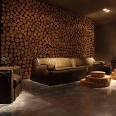 Interesting wall treatment. Perfect for music room / home theater / man cave.