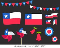 Chilean Flag, National Holidays, Ideas Para Fiestas, Pinwheels, Vector Design, Independence Day, Design Elements, Homeschool, Doodles