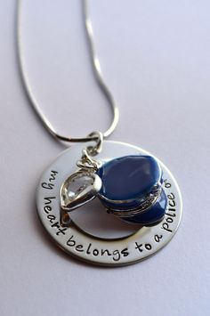 Police Officers Wife Necklace - My heart belongs to a police officer - Police Wife's Necklace - Police Necklace -  Police Cap Necklace. $30.00, via Etsy. For Katie