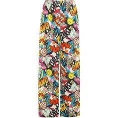 Effie Comic Palazzo Trousers ($17) ❤ liked on Polyvore featuring pants, green, wide leg print pants, black pants, stretchy pants, comic book and patterned palazzo pants