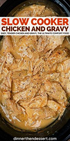 low Cooker Chicken Breasts and Gravy is the ultimate comfort food, an easy crockpot recipe for tender chicken and yummy gravy. low Cooker Chicken Breasts and Gravy is the ultimate comfort food, an easy crockpot recipe for tender chicken and yummy gravy. Slow Cooker Huhn, Slow Cooker Recipes, Healthy Slow Cooker, Slow Cooking, Camping Cooking, Cooking Torch, Country Cooking, Cooking Timer, Food Network