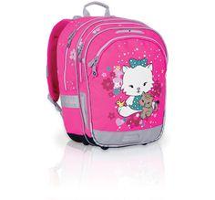 Dwukomorowy plecak do szkoły od 1 do 3 klasy. Słodki motyw kotków spodoba się każdej księżniczce :-)