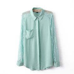 Lace Hollow Out Chiffon Shirt in Green Girl Outfits, Fashion Outfits, Womens Fashion, Cool Style, My Style, Green Lace, Chiffon Shirt, S Shirt, Fashion Plates