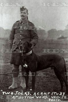 "Pipe-major of ""McCrae's Battalion"" honoured 90 years after his death, Edinburgh, Scotland - 07 Jan 2016 Pipe Major Duguid and Jock, the regimental mascot, and his faithful companion 7 Jan 2016"
