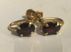 Vintage FERNANDO RONCI 12k Gold Filled Garnet Earrings by MOJEART