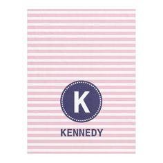 Monogram Blanket Pastel Pink Stripes and Navy Blue